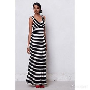 Navy and Gray Striped Maxi Dress